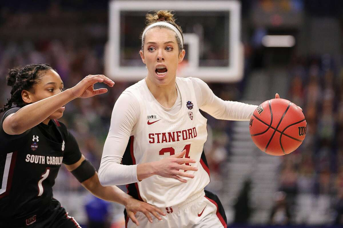 SAN ANTONIO, TEXAS - APRIL 02: Lacie Hull #24 of the Stanford Cardinal drives against Zia Cooke #1 of the South Carolina Gamecocks during the first quarter in the Final Four semifinal game of the 2021 NCAA Women's Basketball Tournament at the Alamodome on April 02, 2021 in San Antonio, Texas. (Photo by Carmen Mandato/Getty Images)