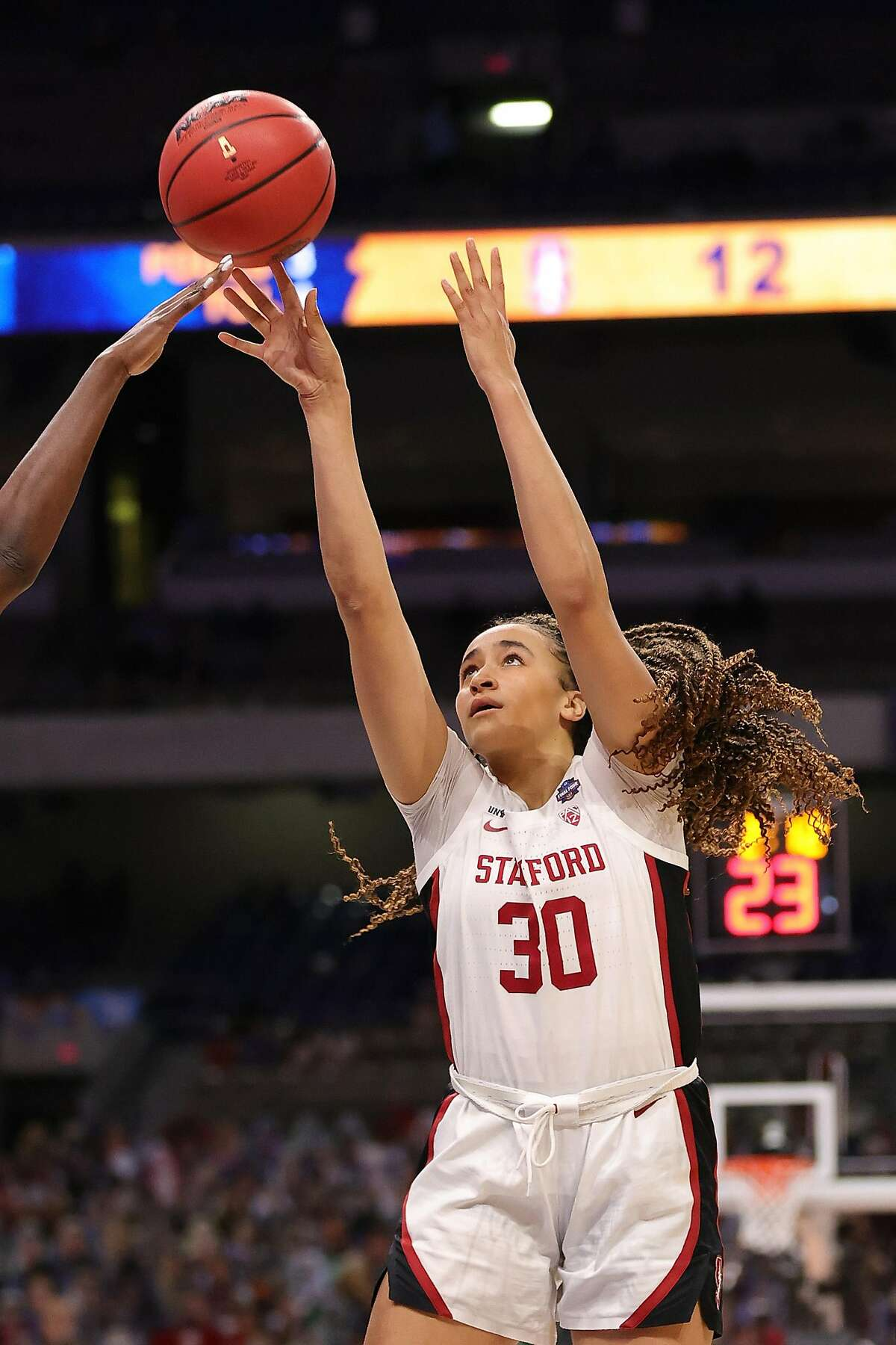 SAN ANTONIO, TEXAS - APRIL 02: Haley Jones #30 of the Stanford Cardinal attempts the shot against the South Carolina Gamecocks during the first half in the Final Four semifinal game of the 2021 NCAA Women's Basketball Tournament at the Alamodome on April 02, 2021 in San Antonio, Texas. (Photo by Carmen Mandato/Getty Images)