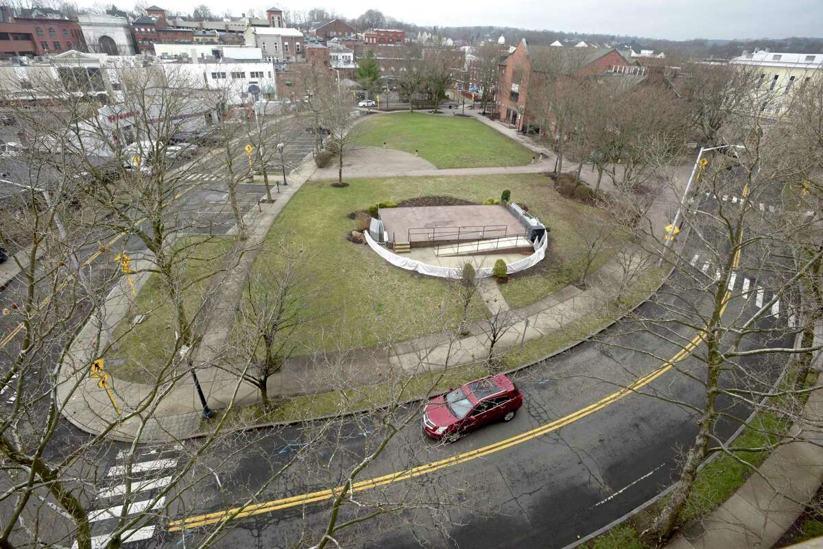 The Danbury Green in downtown. Friday, March 26, 2021, Danbury, Conn.