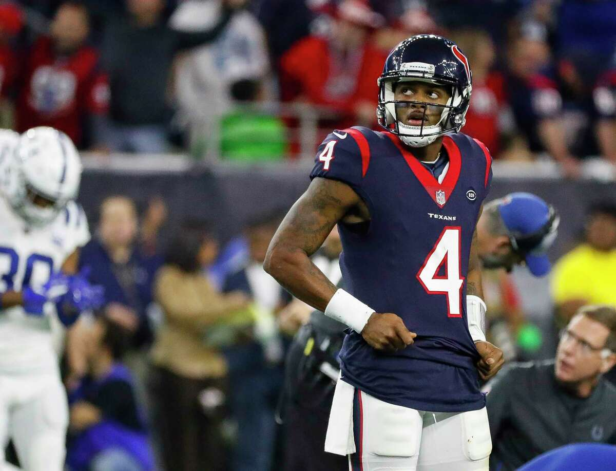 Houston Texans quarterback Deshaun Watson (4) reacts after a play during the third quarter of an NFL first round playoff game at NRG Stadium, Saturday, Jan. 5, 2019, in Houston.