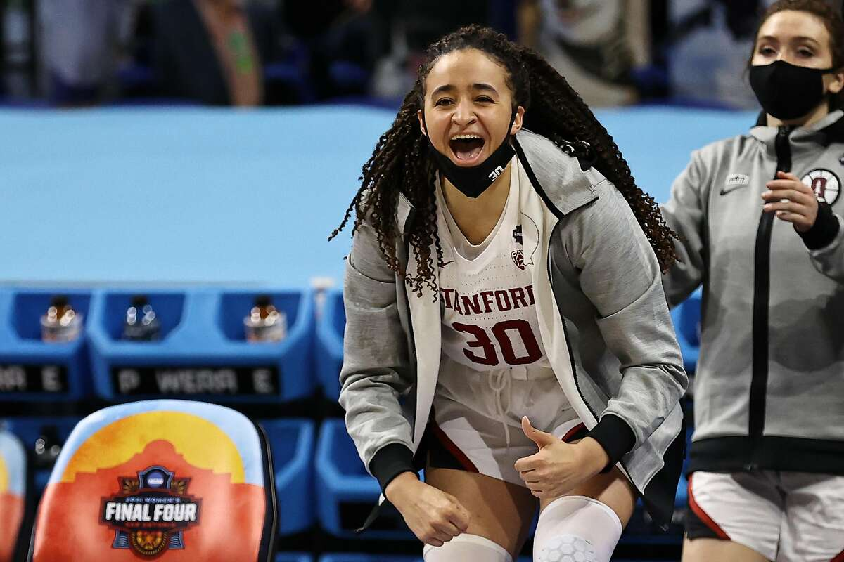 SAN ANTONIO, TEXAS - APRIL 02: Haley Jones #30 of the Stanford Cardinal reacts against the South Carolina Gamecocks during the second quarter in the Final Four semifinal game of the 2021 NCAA Women's Basketball Tournament at the Alamodome on April 02, 2021 in San Antonio, Texas. (Photo by Elsa/Getty Images)