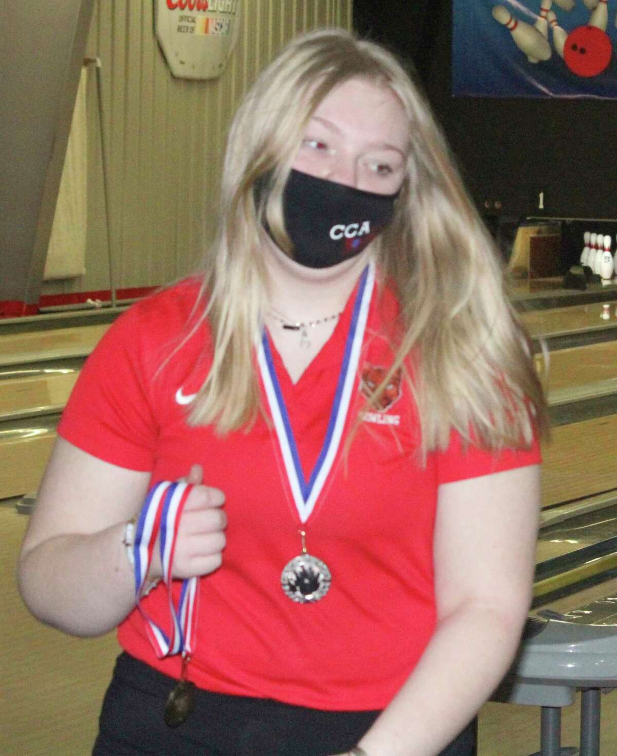 Clara Hund focuses on her bowling recently at The Gate. (Pioneer file photo)