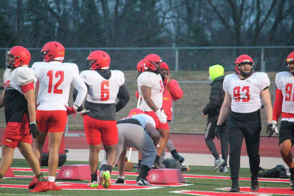 Ferris football players work out during a recent spring practice at Top Taggart Field. (Pioneer photo/John Raffel)
