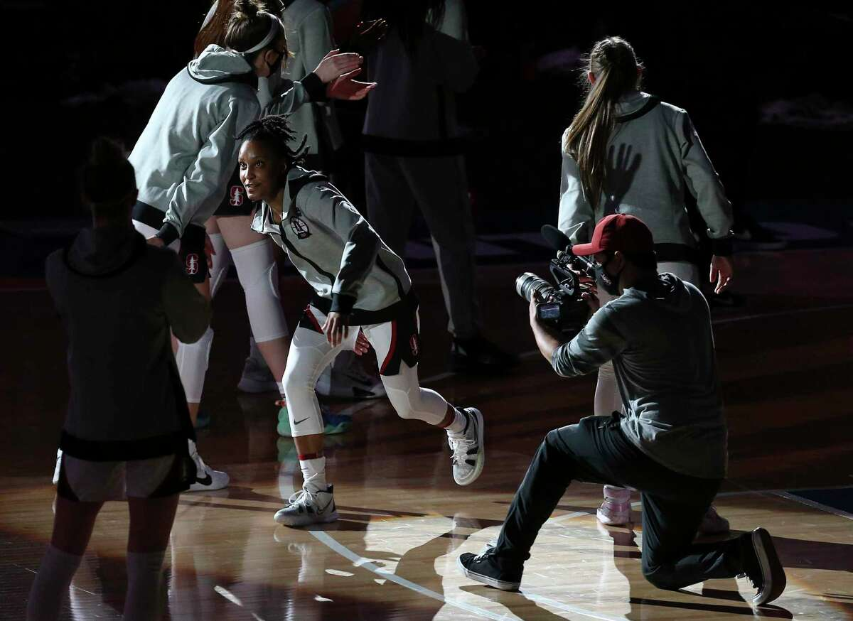 Stanford's Kiana Williams (23) gets introduced before the game against South Carolina during their 2021 NCAA Women's Final Four national semifinal basketball game at the Alamodome on Friday, Apr. 2, 2021.