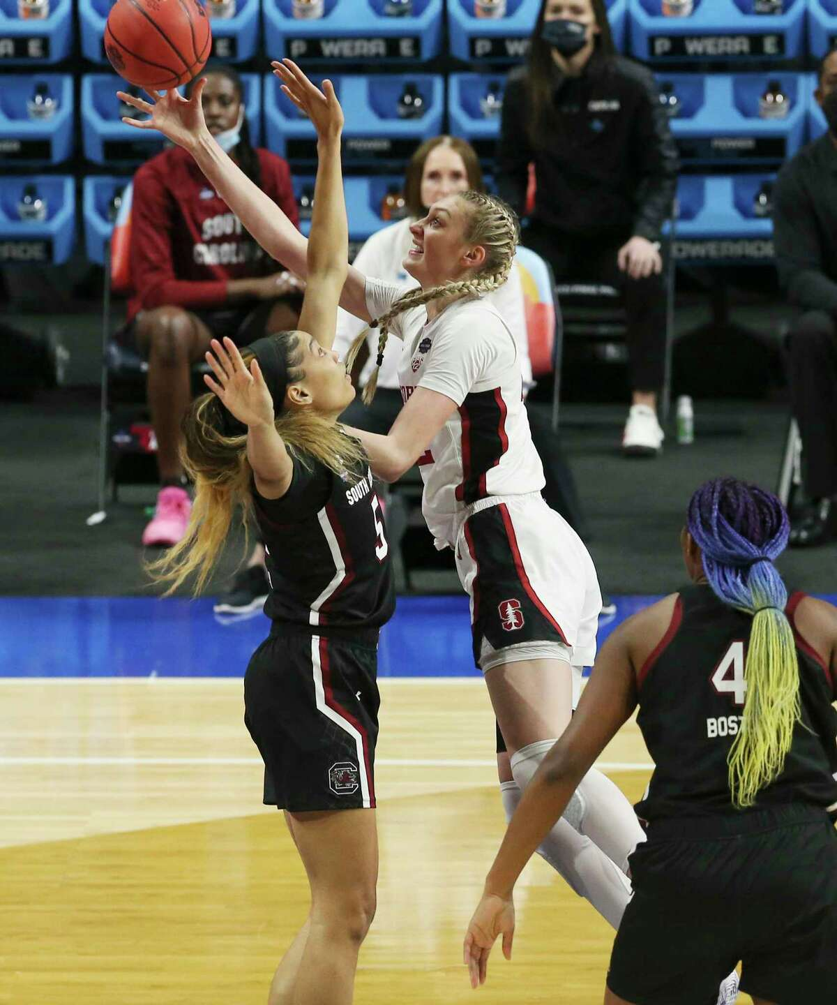 Stanford's Cameron Brink (22) puts up a shot against South Carolina's Victaria Saxton (05) during their 2021 NCAA Women's Final Four national semifinal basketball game at the Alamodome on Friday, Apr. 2, 2021.