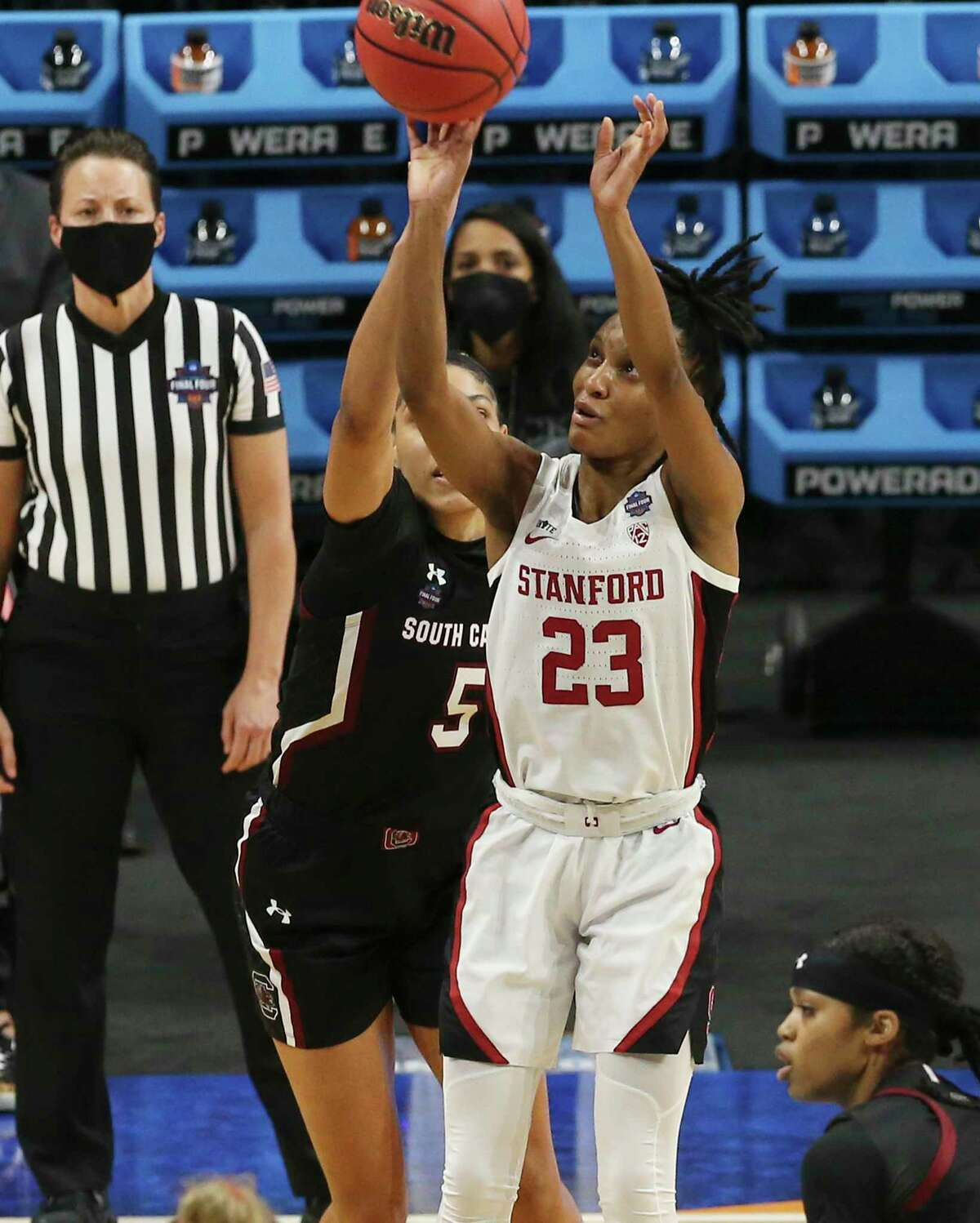 Stanford's Kiana Williams (23) shoots against South Carolina's Victaria Saxton (05) during their 2021 NCAA Women's Final Four national semifinal basketball game at the Alamodome on Friday, Apr. 2, 2021.