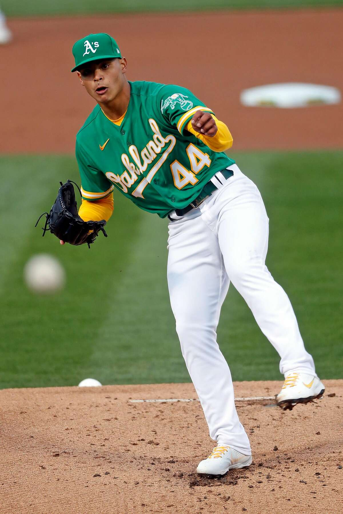 Oakland Athletics' Jesus Luzardo pitches in 1st inning against Houston Astros during MLB game at Oakland Coliseum in Oakland, Calif., on Friday, April 2, 2021.