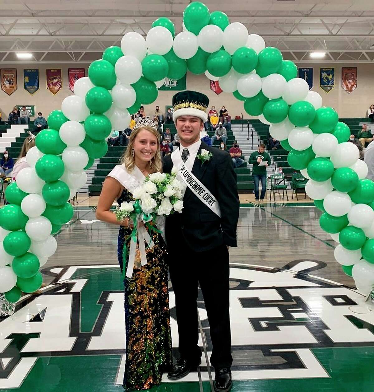 At the Coming Home game, the 2021 Laker Coming Home Prince and Princess were crowned. Collin Schuette was named prince and Kaylynn Carr was named princess. Collin is the son of Steve and Tina Schuette, and Kaylynn is the daughter of William and LeAnn Carr. Collin and Kaylynn were crowned by the 2020 Coming Home Prince and Princess, Hunter Keim and Madisyn Wisenbaugh. (Submitted Photo)