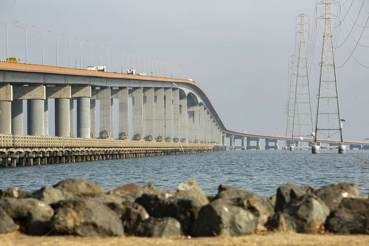 This file photo of the San Mateo-Hayward Bridge as seen on Nov. 13, 2019, from Bridgeview Park in Foster City, Calif.