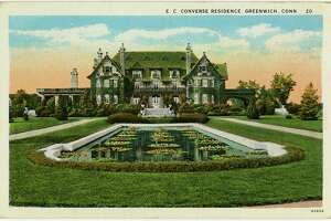 'Beautiful Work: The Art of Greenwich Gardens and Landscapes' will feature items about gardens, including this from the postcard collection of the Conyers Manor, the E. C. Converse residence in Greenwich.