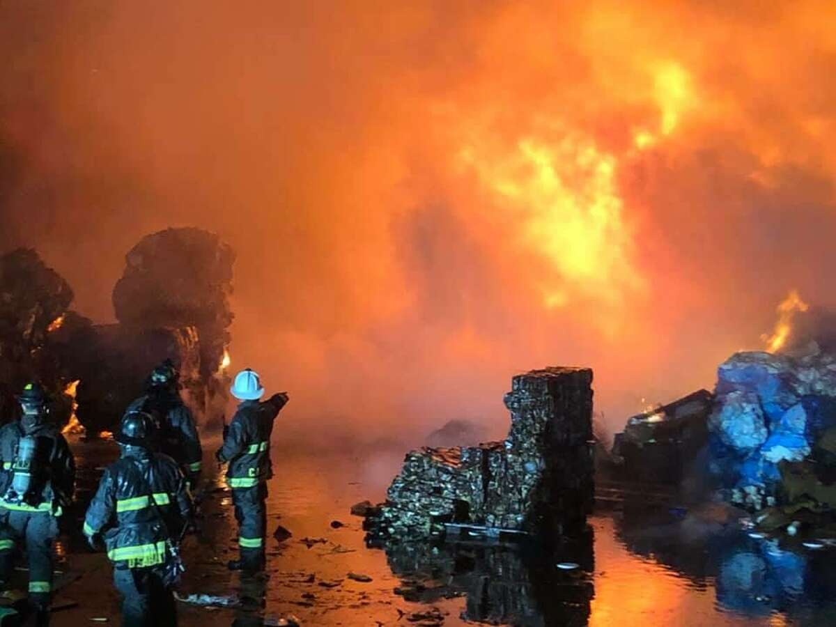 More than 35 firefighters responded to the blaze at an East Oakland recycling plant Friday night.