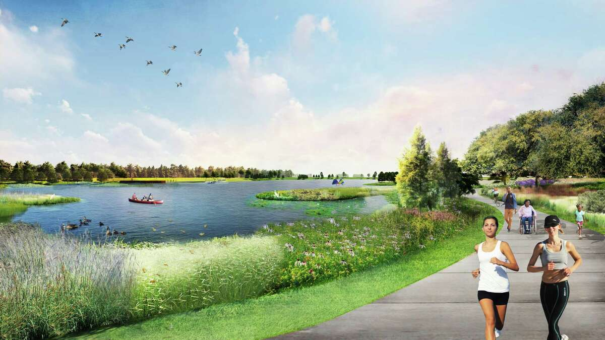 The Howard Hughes Corporation has announced the newest phase in their Bridgeland development with the addition of Prairieland Village. This is an artist's rendering of Lakeside Trail.