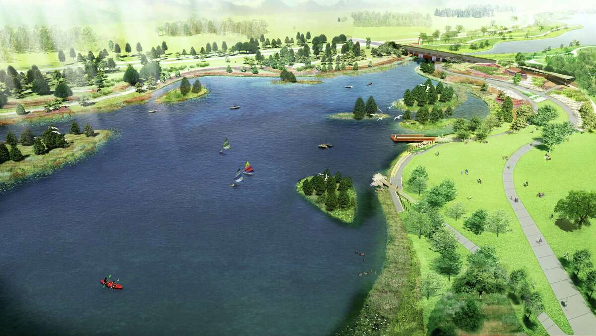 The Howard Hughes Corporation has announced the newest phase in their Bridgeland development with the addition of Prairieland Village. This is an artist's rendering with an aerial view of the lake.