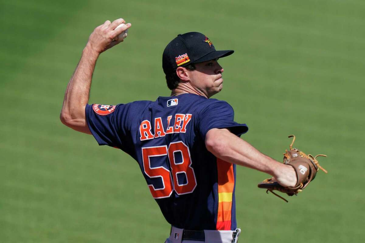 Houston Astros relief pitcher Brooks Raley (58) warms up in the bullpen during a spring training baseball game against the St. Louis Cardinals, Sunday, March 7, 2021, in Jupiter, Fla. (AP Photo/Lynne Sladky)