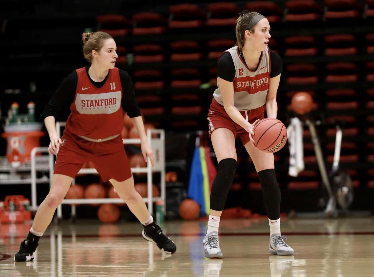 Stanford University guard Lexie Hull (12) practices with her basketball team at Maples Pavilion at Stanford University in Stanford, Calif., on Tuesday, March 5, 2019. Hull and her twin sister Lacie, of Spokane, Wash., are guards for Stanford University's women's basketball team. They have made great strides as Stanford freshmen and will be key members of the rotation as the Cardinals play their first game in the Pac-12 tournament on Friday.