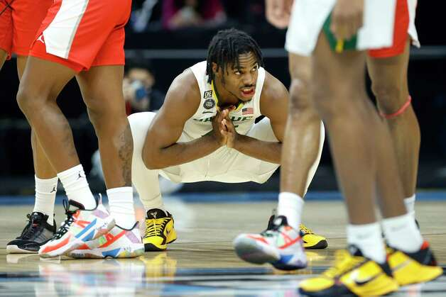 INDIANAPOLIS, INDIANA - APRIL 03: Davion Mitchell #45 of the Baylor Bears reacts before the 2021 NCAA Final Four semifinal against the Houston Cougars at Lucas Oil Stadium on April 03, 2021 in Indianapolis, Indiana. Photo: Tim Nwachukwu, Getty Images / 2021 Getty Images