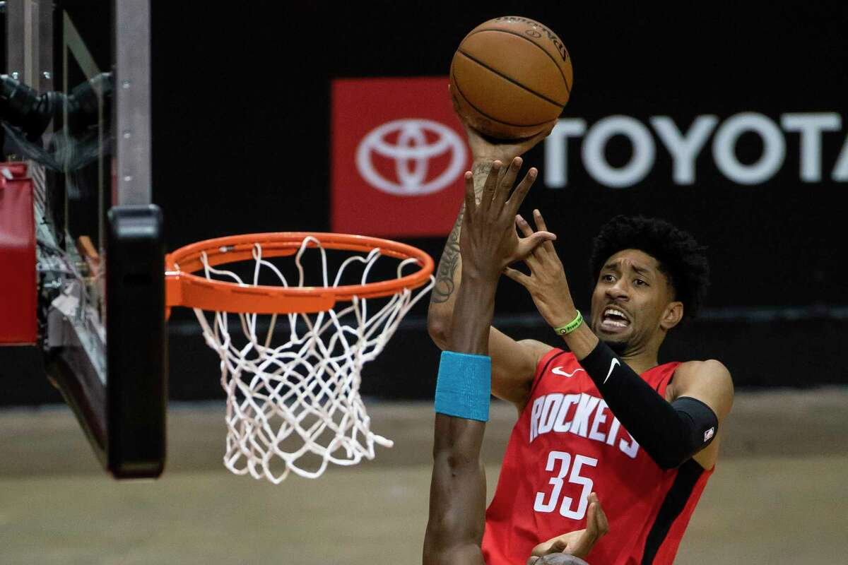 """Christian Wood (35) believes it's just a matter of time before he and fellow center Kelly Olnynk start to jell in the game at the same time for the Rockets. Said Wood: """"It's just figuring out spots on the floor."""""""