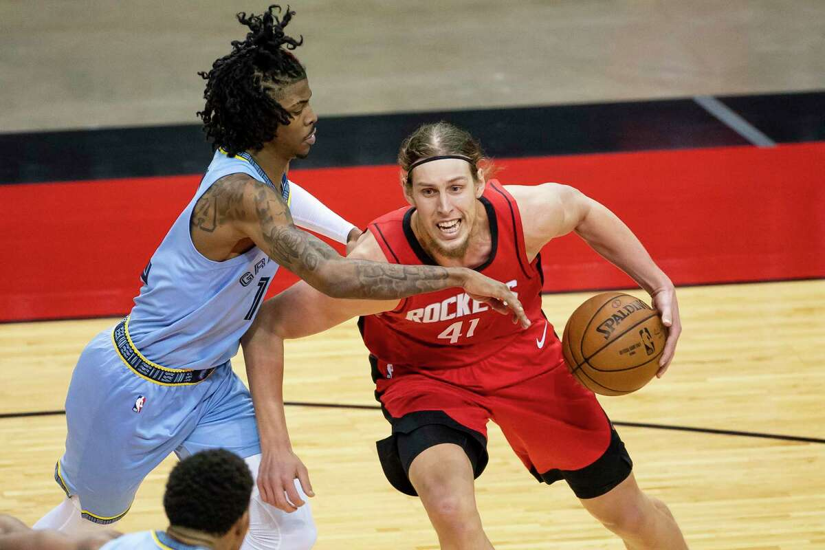 Rockets centers Kelly Olynyk (41) and Christian Wood could see more time together on the floor against the Pelicans, who top the NBA in offensive rebounding.