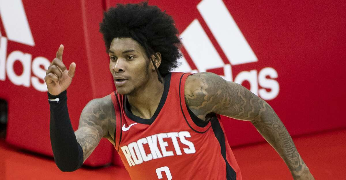 Houston Rockets guard Kevin Porter Jr. (3) celebrates after making a shot during the third quarter of an NBA game between the Houston Rockets and the Memphis Grizzlies on Monday, March 29, 2021, at Toyota Center in Houston.