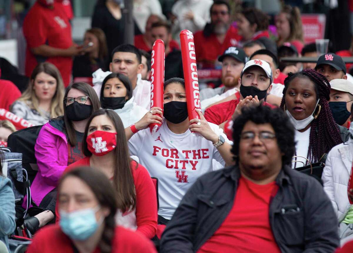 University of Houston fans react to the Final Four game against Baylor University at the watch party Saturday, April 3, 2021, at Avenida Houston in Houston.