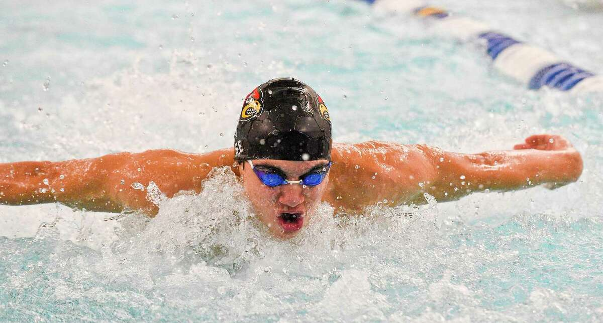 Greenwich's Ryan Jee competes during a dual swim/dive meet at the New Canaan YMCA Valles Natatorium on Jan. 3, 2020 in New Canaan, Connecticut.