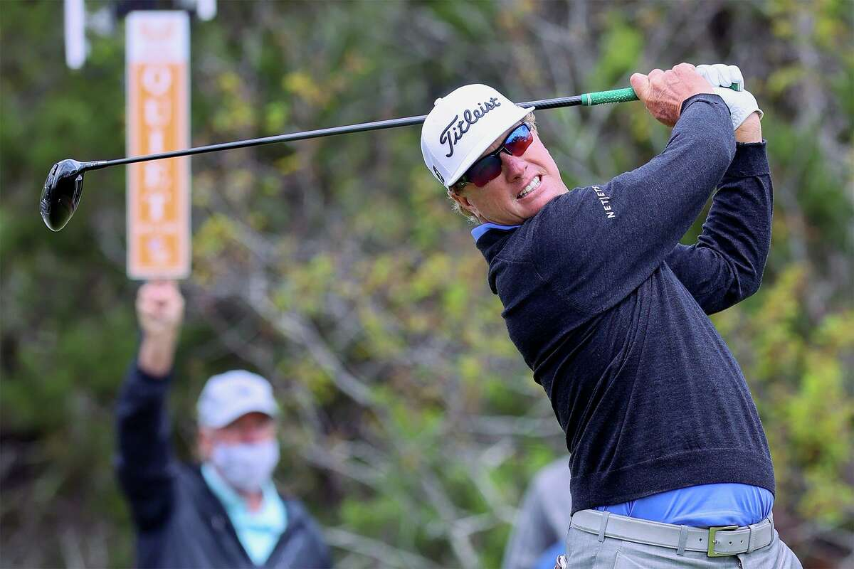 Charley Hoffman tees off on No. 1 during the third round of the Valero Texas Open at the TPC San Antonio - AT&T Oaks Course on Saturday, April 3, 2021. Hoffman shot a 7-under 65 to move into third place, two strokes off the lead, going into the final day of the tournament.