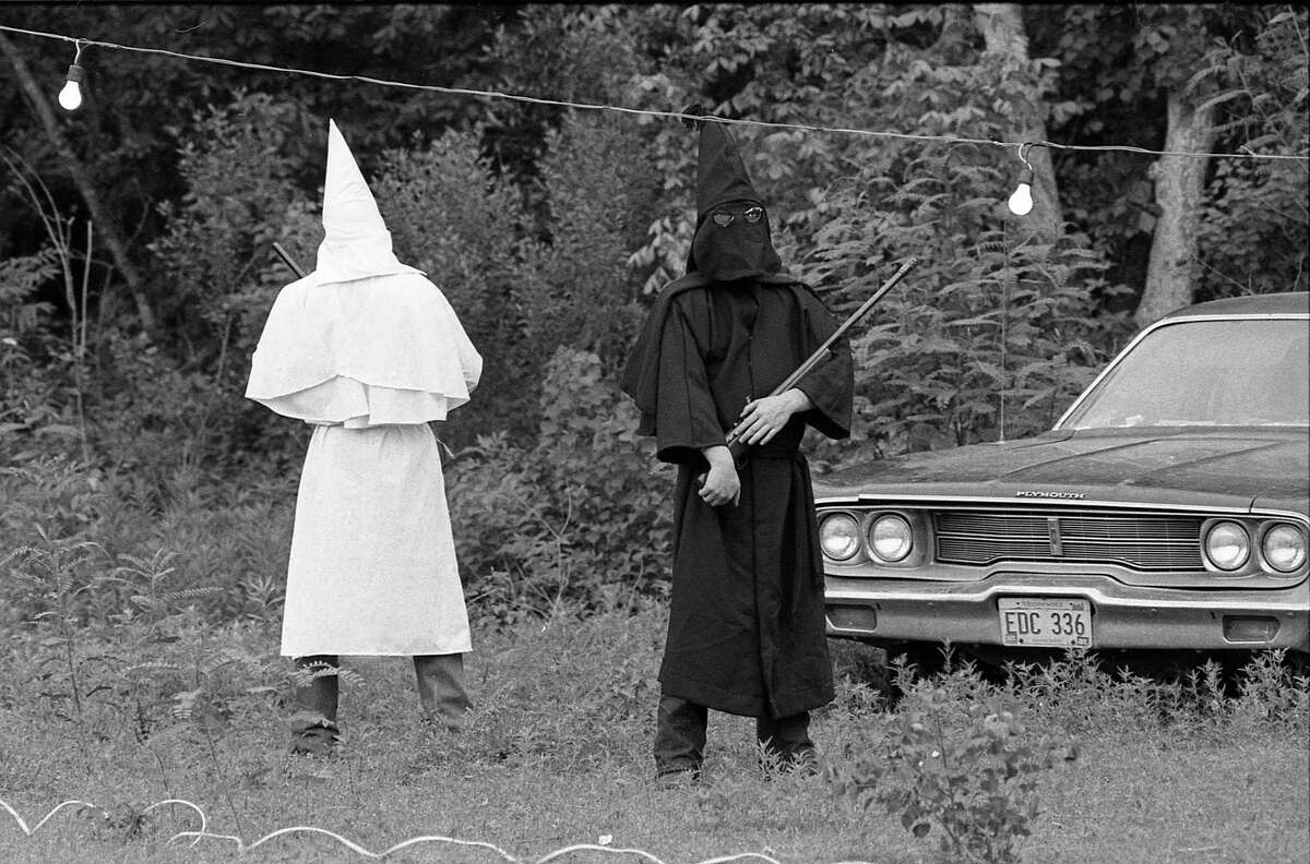 05/09/1981 - Ku Klux Klan supporters at rally in Santa Fe about the fishing rights dispute with Vietnamese refugee fishermen in Galveston Bay.