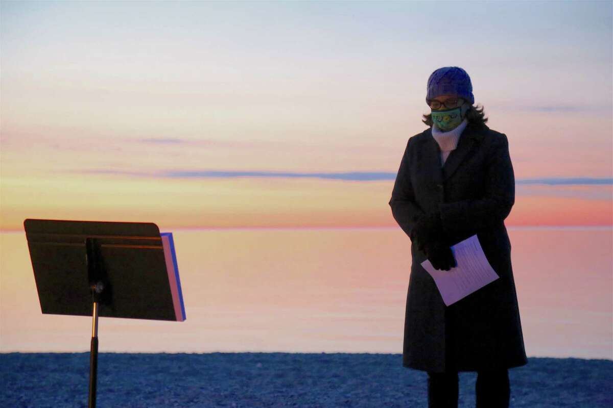 Heather Sinclair, pastor at United Methodist Church of Westport, helped lead the Easter Sunday Sunrise Service at Compo Beach on April 4, 2021.
