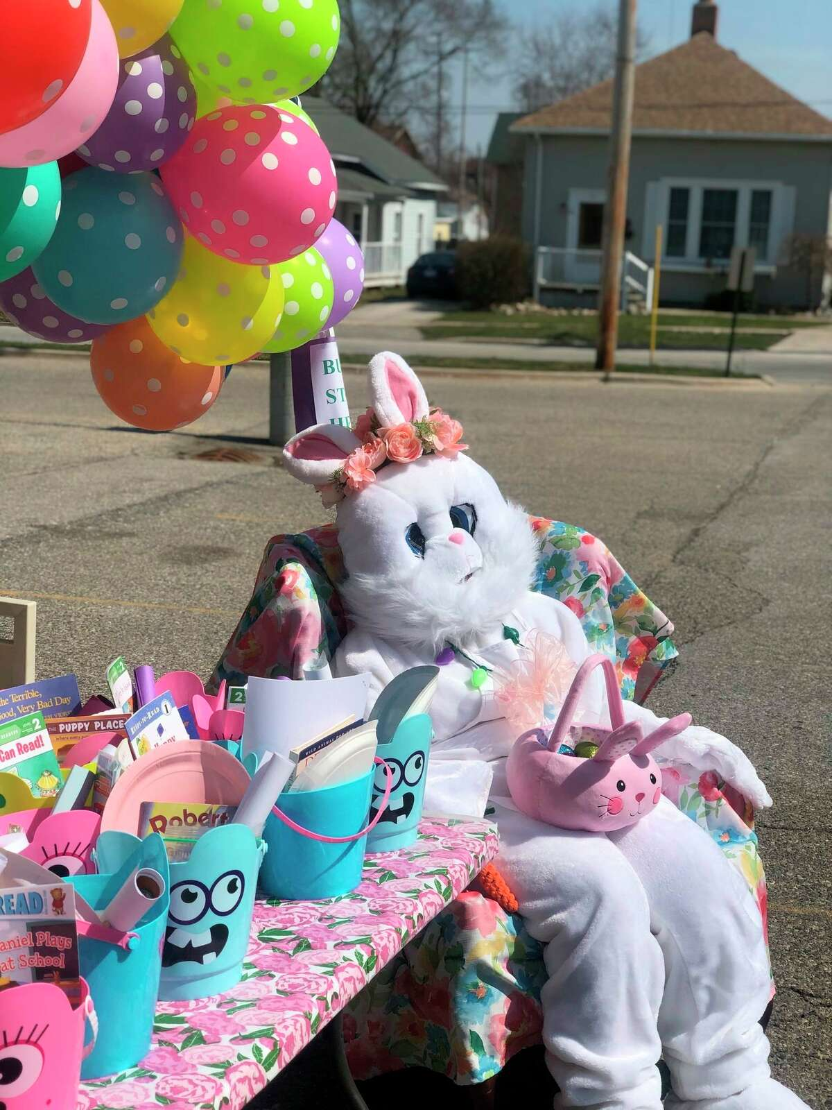 """The Easter Bunny handed out gifts at the Manistee County Library for its """"Hoppy Spring"""" event Saturday. (Courtesy Photo)"""