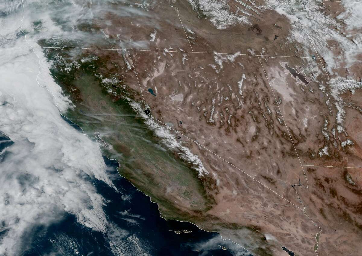 A GOES-West satellite image shows California and the surrounding areas on Sunday, April 4, 2021.