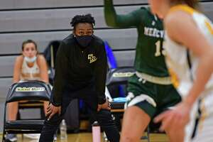 Saint Rose women's basketball head coach Whitney Edwards watches her players during a game against Mercyhurst in her first season with the Golden Knights on Tuesday, Feb. 16, 2021 in Albany, N.Y. (Lori Van Buren/Times Union)