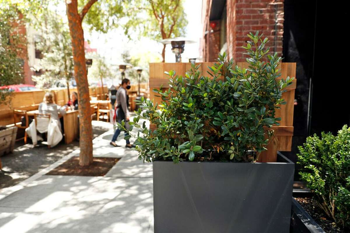 Parklets, such as the one outside Cotogna on Pacific Avenue in San Francisco, have become increasingly prominent during the pandemic.