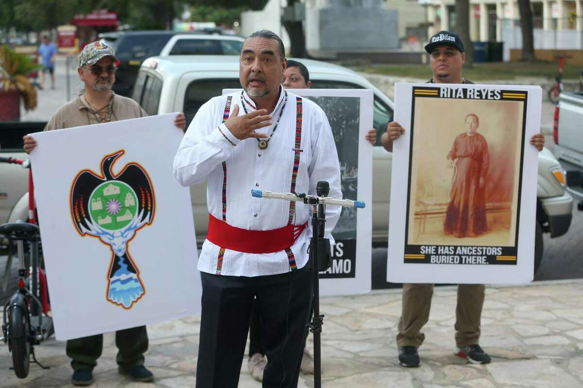Ramon Vasquez speaks Tuesday, Sept. 10, 2019 at the Hipolito F. Garcia Federal Building and U.S. Courthouse across the street from the Alamo about the federal lawsuit the Tap Pilam Coahiltecan Nation filed in an effort to be include in decisions related to treatment of human remains found at the Alamo. The city of San Antonio announced last week that it will work with Tap Pilam and other descendant groups to develop a protocol for handling any remains unearthed in the city-owned portion of the Alamo Plaza.