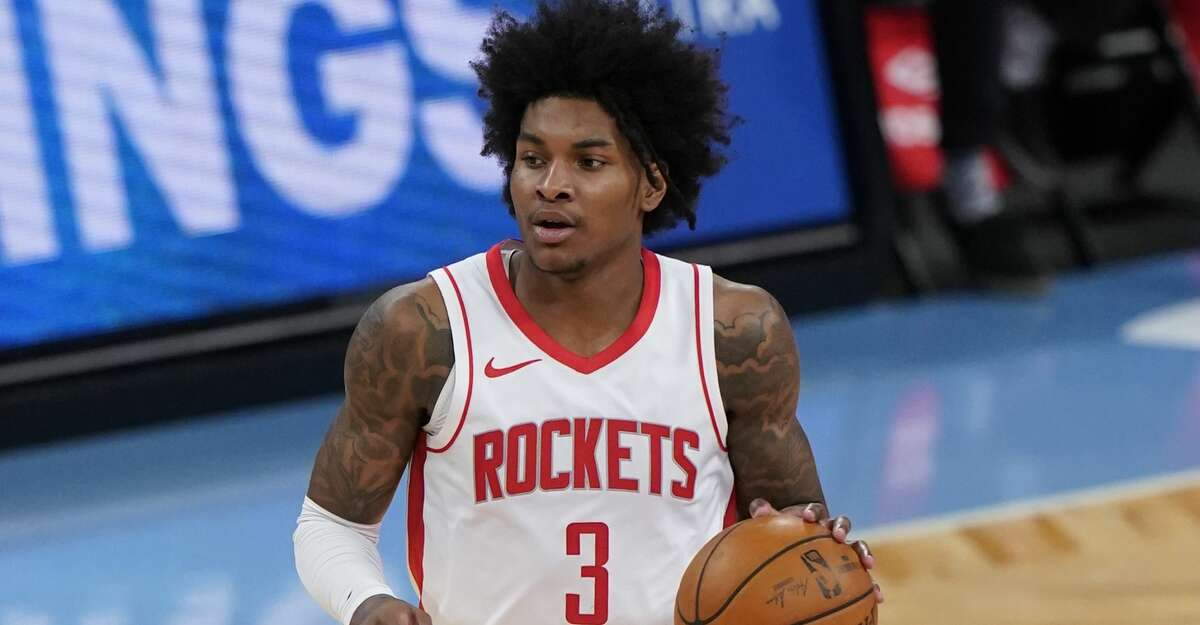 Houston Rockets' Kevin Porter Jr. (3) during the second half of an NBA basketball game against the Brooklyn Nets Wednesday, March 31, 2021, in New York. (AP Photo/Frank Franklin II)