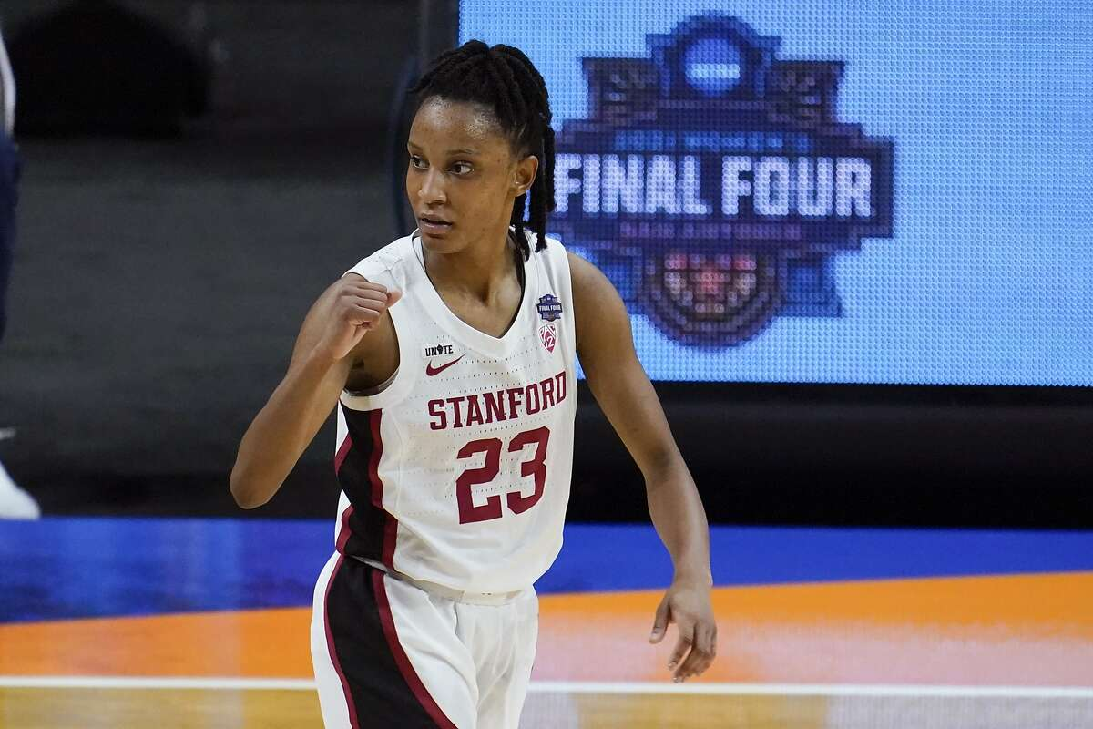 Stanford guard Kiana Williams celebrates during the first half of the championship game against Arizona.