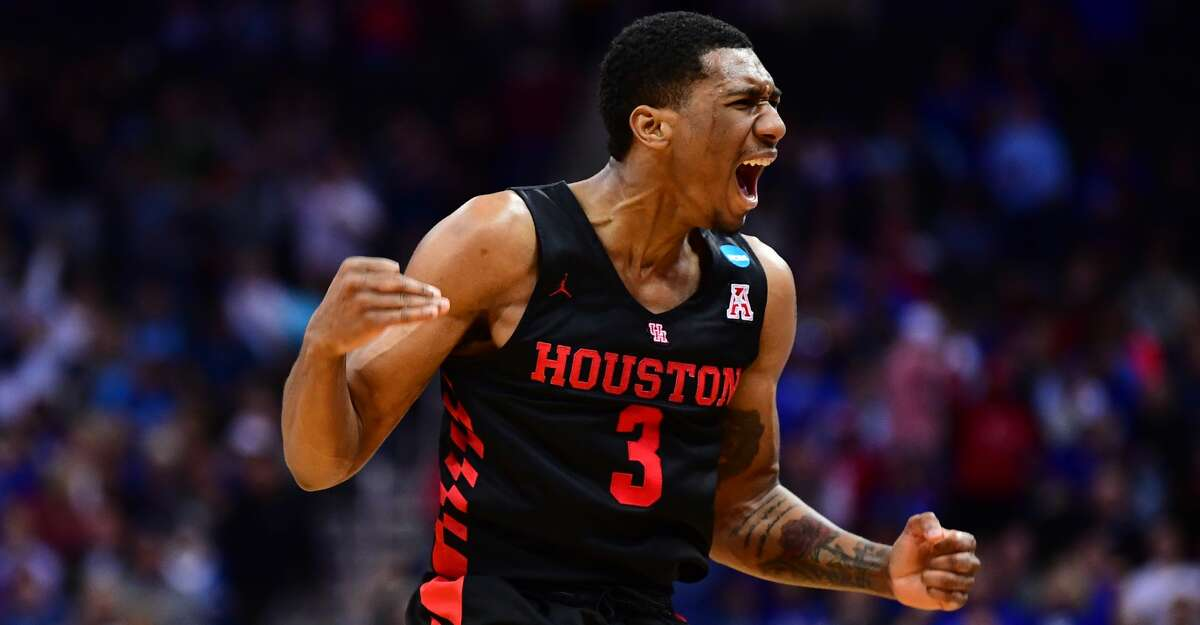 Armoni Brooks #3 of the Houston Cougars reacts to a basket against the Kentucky Wildcats in the third round of the 2019 NCAA Photos via Getty Images Men's Basketball Tournament held at Sprint Center on March 29, 2019 in Kansas City, Missouri. (Photo by Ben Solomon/NCAA Photos via Getty Images)