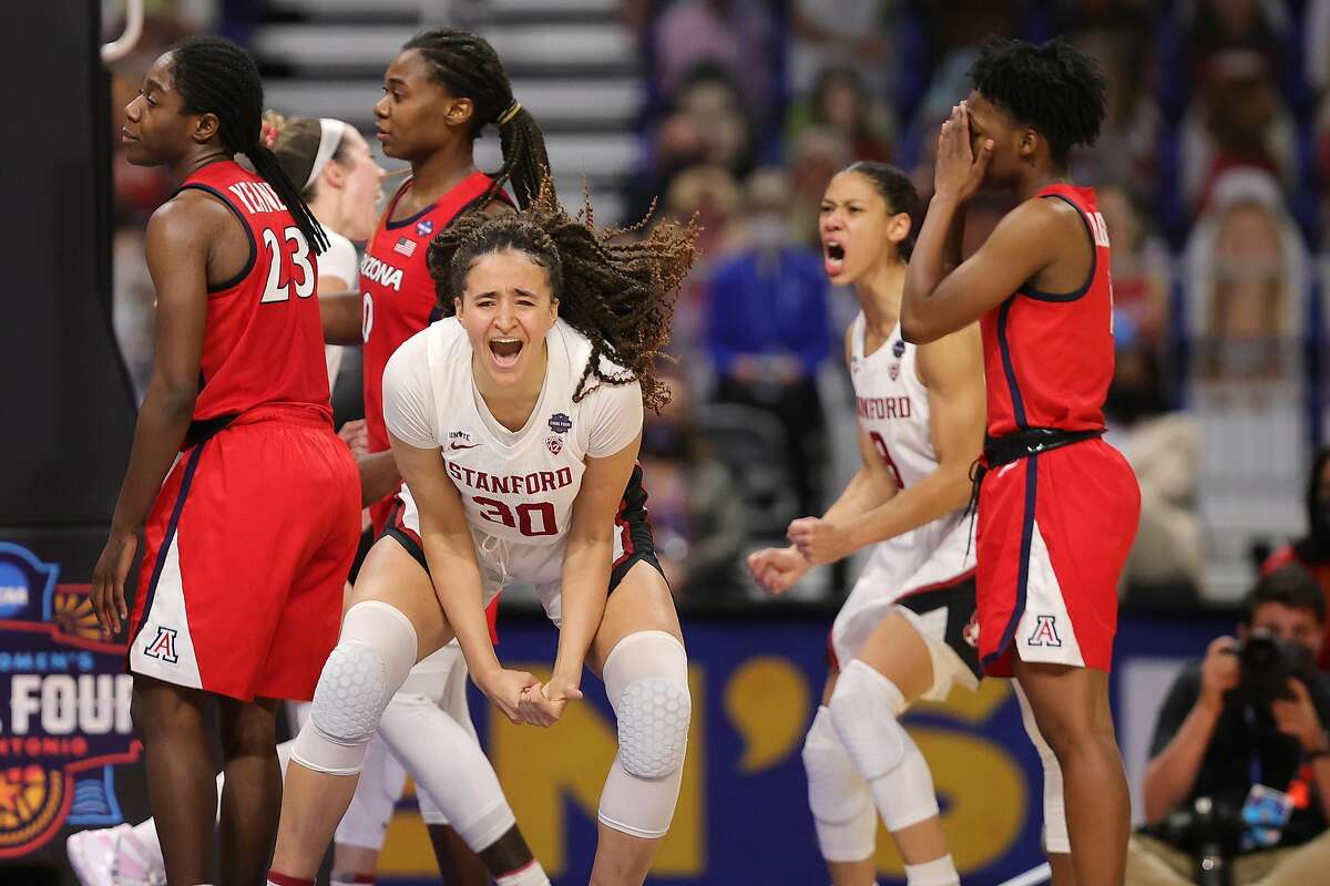 Stanford's Haley Jones celebrates her team's victory over Arizona in the national title game Sunday.