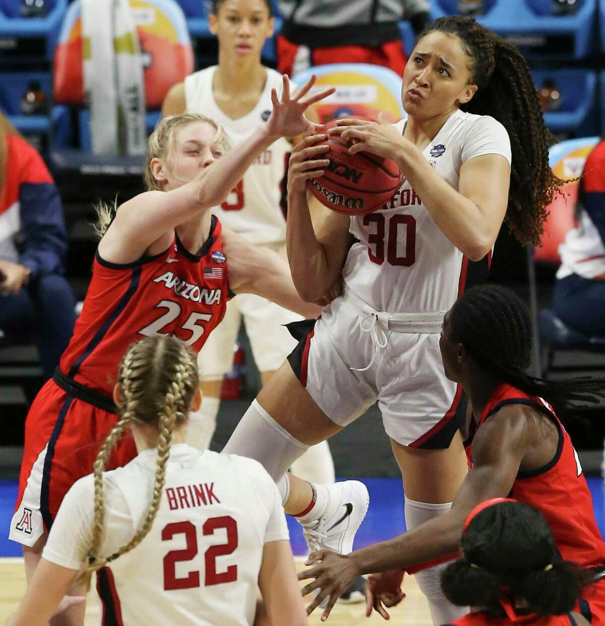 Stanford's Haley Jones (30) attempts a shot against Arizona's Cate Reese (25) during their 2021 NCAA Women's Final Four National Champion basketball game at the Alamodome on Sunday, Apr. 4, 2021.