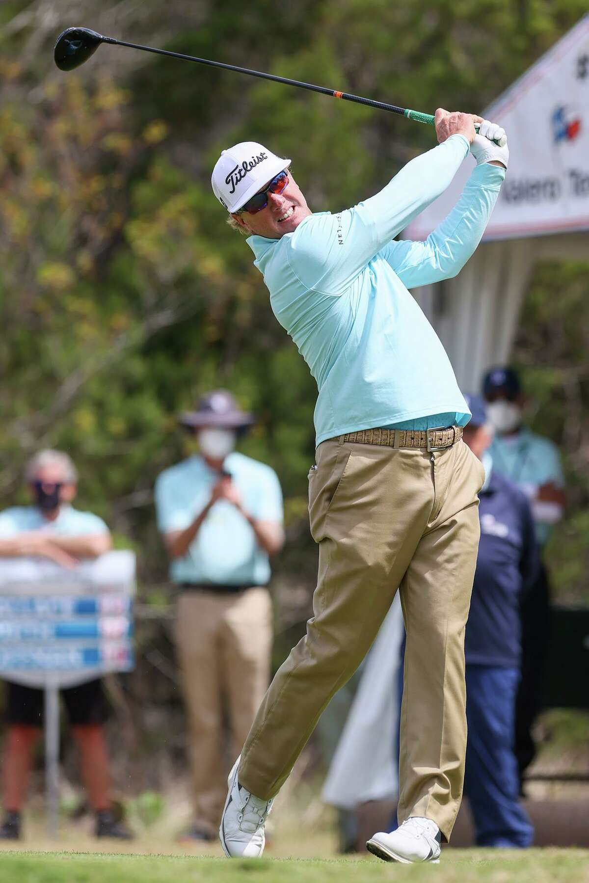 Charley Hoffman tees off on No. 1 during the final round of the Valero Texas Open at the TPC San Antonio - AT&T Oaks Course on Sunday, April 4, 2021.