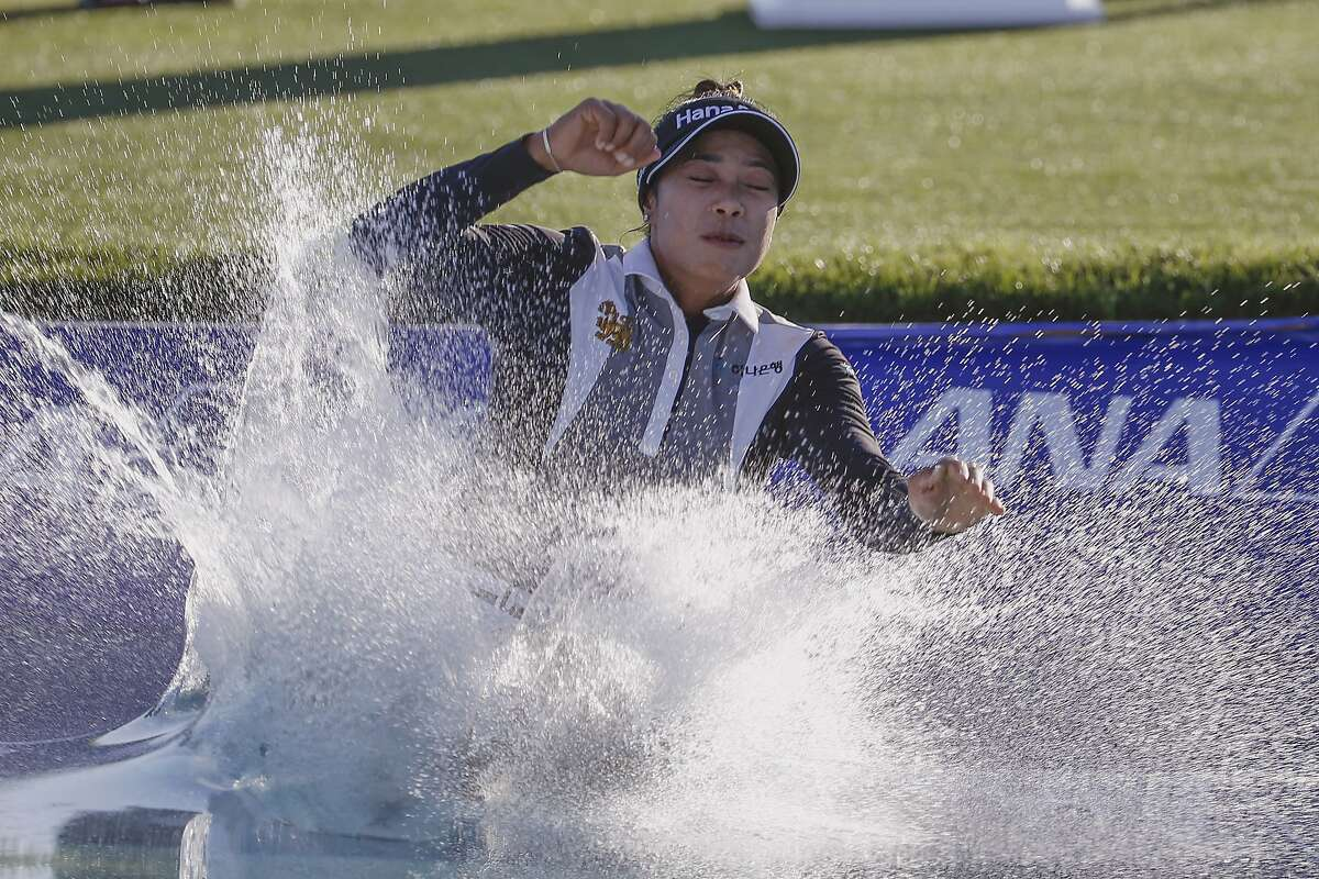 Patty Tavatanakit gets wet to celebrate a win in the LPGA Tour's first major of the year.