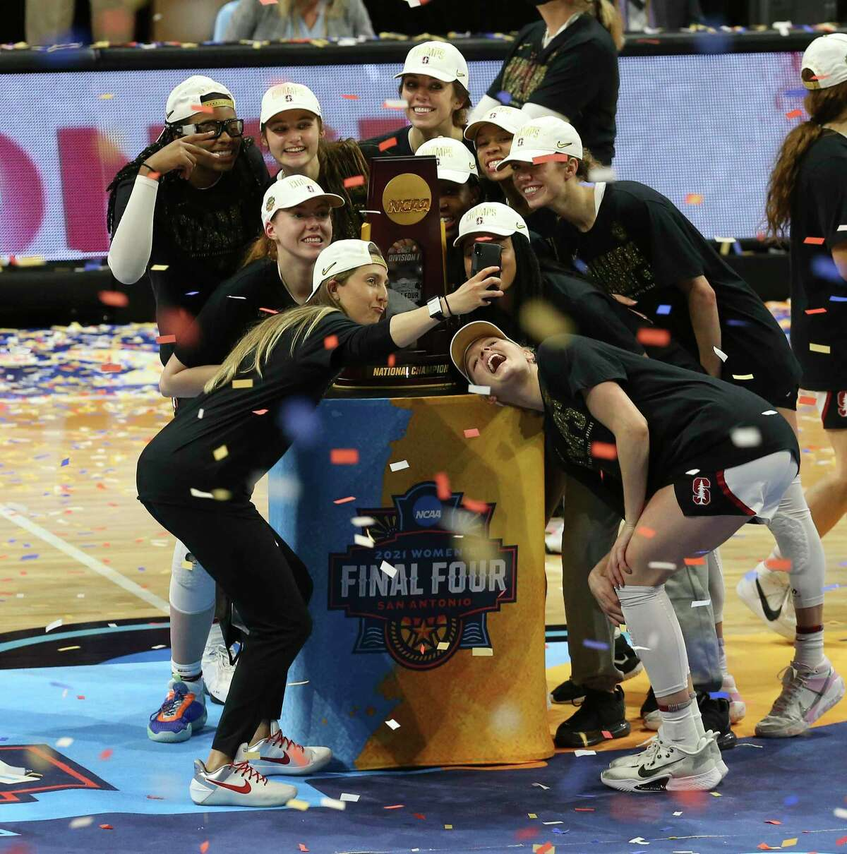 Stanford celebrates after defeating Arizona for the 2021 NCAA Women's Final Four National Champion basketball title at the Alamodome on Sunday, Apr. 4, 2021. Stanford won, 54-53.