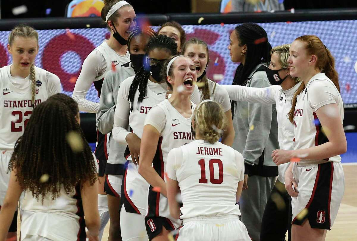 Stanford's against Arizona's during their 2021 NCAA Women's Final Four National Champion basketball game at the Alamodome on Sunday, Apr. 4, 2021. Stanford wins, 54-53, to win the championship title.