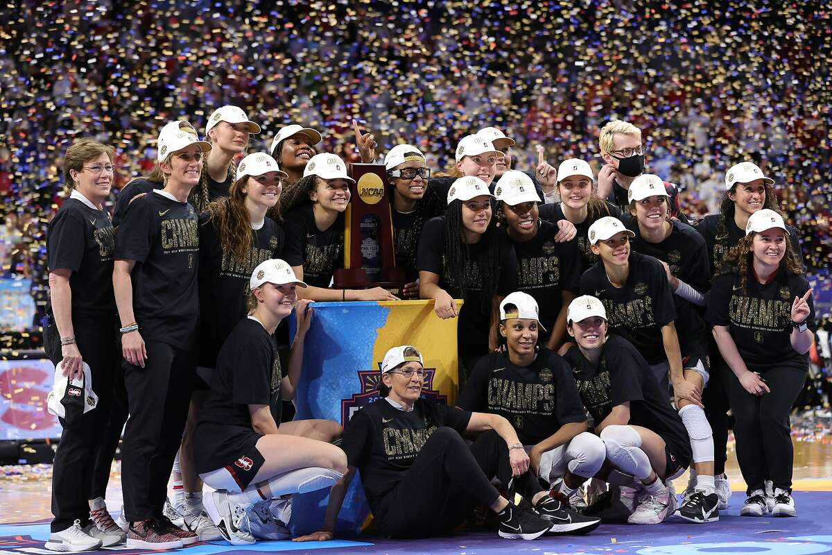 SAN ANTONIO, TEXAS - APRIL 04: Members of the Stanford Cardinal celebrate the team's win against the Arizona Wildcats in the National Championship game of the 2021 NCAA Women's Basketball Tournament at the Alamodome on April 04, 2021 in San Antonio, Texas. (Photo by Carmen Mandato/Getty Images)