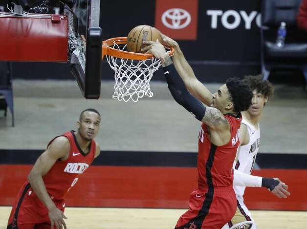 Houston Rockets forward Kenyon Martin Jr. (6) dunks the ball against the New Orleans Pelicans during the second half of an NBA basketball game at Toyota Center, Sunday, April 4, 2021. Photo: Karen Warren/Staff Photographer / @2021 Houston Chronicle