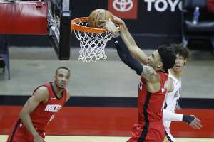 Houston Rockets forward Kenyon Martin Jr. (6) dunks the ball against the New Orleans Pelicans during the second half of an NBA basketball game at Toyota Center, Sunday, April 4, 2021.