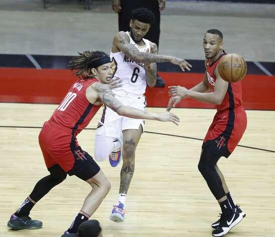 during the first half of an NBA basketball game at Toyota Center, Sunday, April 4, 2021. Photo: Karen Warren/Staff Photographer / @2021 Houston Chronicle