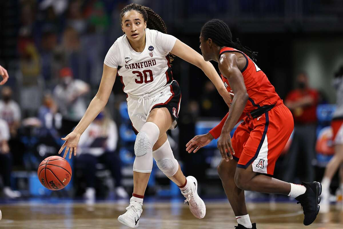 Haley Jones of the Stanford Cardinal brings the ball up court against the Arizona Wildcats in the national championship game.