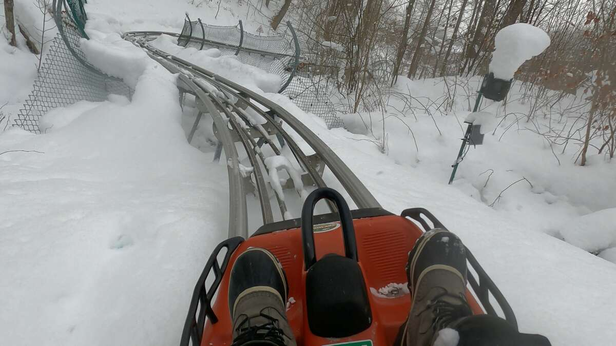 The Sky Flyer Mountain Coaster in Ellicottville (here in the winter) is an all-seasons thrill.