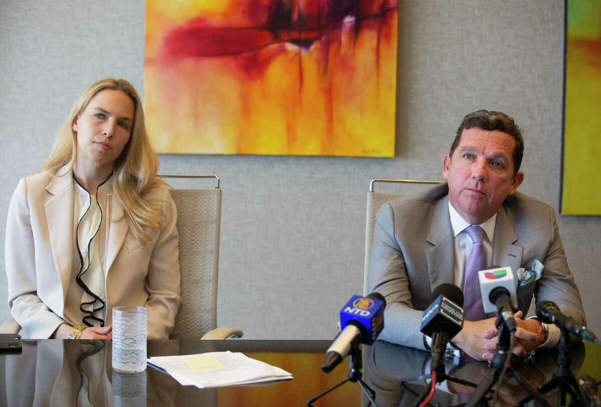 Lawyers Tony Buzbee and Cornelia Brandfield-Harvey discuss their lawsuits against Texans Quarterback Deshaun Watson at a press conference Friday, March 19, 2021, in Houston.S