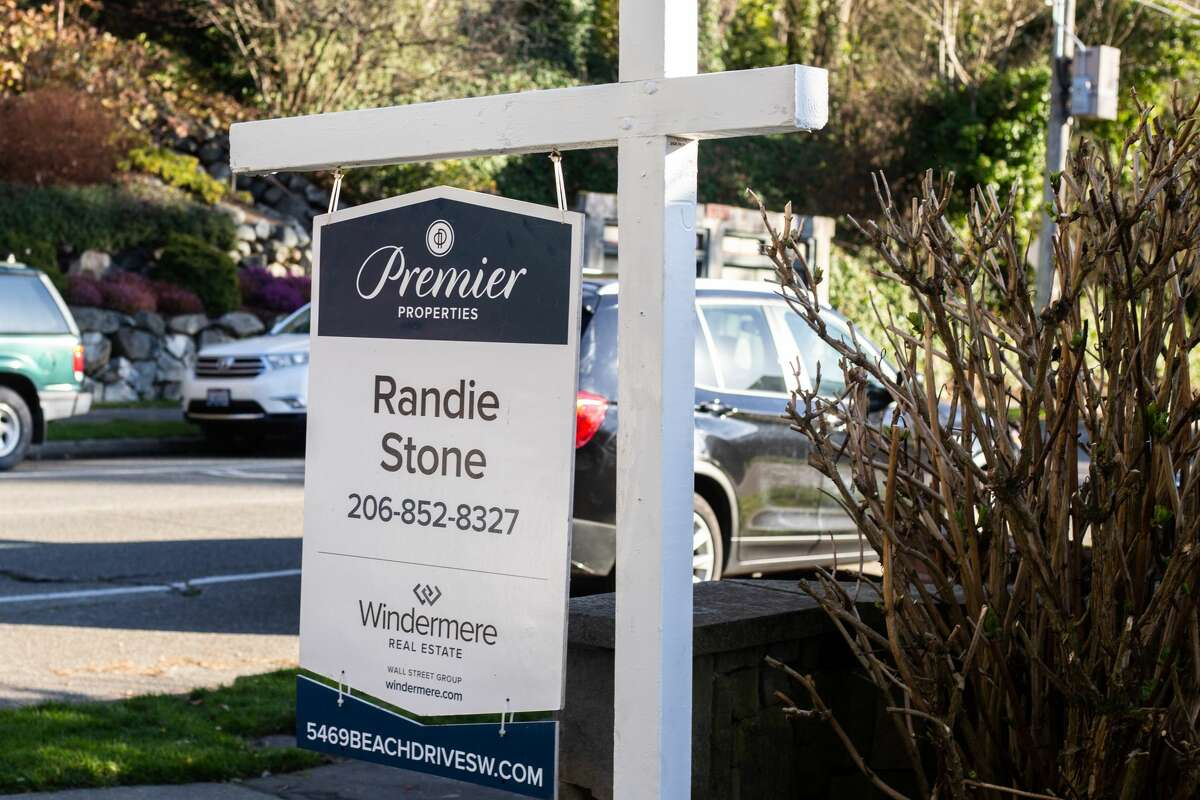 A real estate sign in Seattle, Wash.